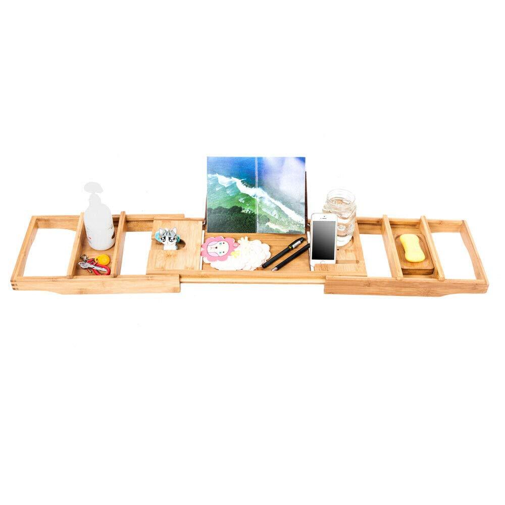 RubyShop724 Bathtub Tray Expandable Organizer Reading Rack Tablet & Wine Glass Holder Bamboo Expandable Organizer Reading Rack Tablet & Wine Glass Holder Bamboo
