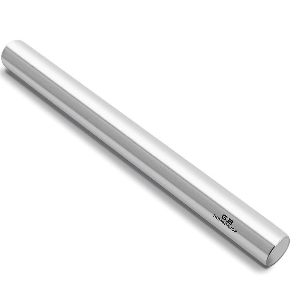 French Rolling Pin Professional Dough Baker Smooth Stainless Steel Metal Roller for Pizza, Fondant, Pie Crust, Cookie & Pastry