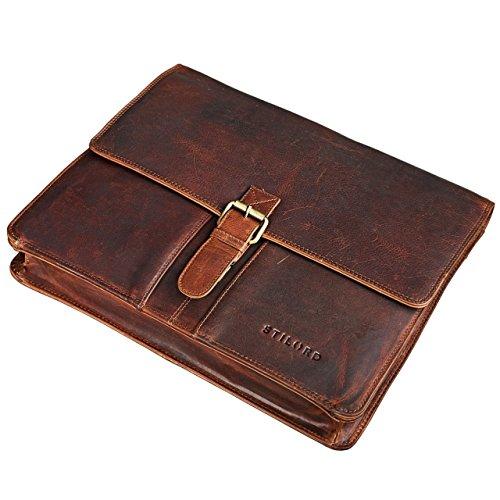 STILORD 'Magnus' Vintage Konferenzmappe Leder A4 Aktenmappe Aktentasche Dokumentenmappe für 13,3 Zoll MacBooks echtes Rindsleder kara - braun