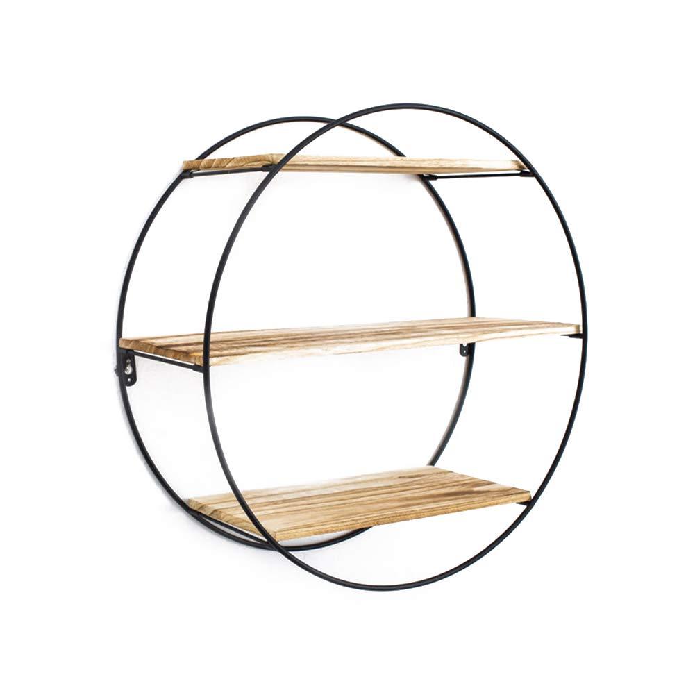 Whthteey Creative Wall Bookshelf Stylish Floating Shelves Storage Holder Indoor Decoration (Round)