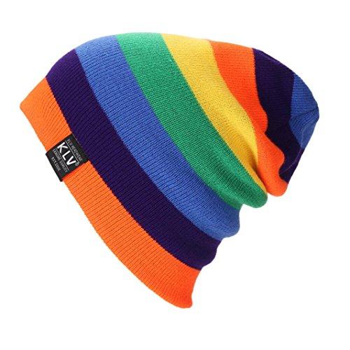 Silver Womens Ski Boots (Sikye Women Men Trendy Winter Warm Knit Hat Pentagram Pure Color Knitted Striped Cap Oversize Crochet Beanie Ski Caps Hat Braided Turban Headdress Cap (Orange))