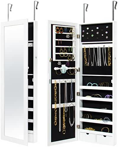 Best Choice Products Wall Door Mounted Locking Mirror Jewelry Cabinet Organizer W/ Keys- White