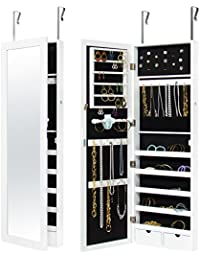 Wall Door Mounted Locking Mirror Jewelry Cabinet Organizer W/ Keys  White