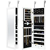 Best Choice Products Wall Door Mounted Locking Mirror Jewelry Cabinet Organizer W/Keys- White