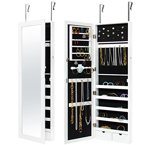 (Best Choice Products Wall Door Mounted Locking Mirror Jewelry Cabinet Organizer W/Keys- White)