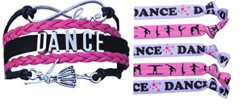 Gift Dance Set (Infinity Collection Dance Gift Set- Dance Bracelet and Dance Hair Ties, Dance Jewelry for Dance Recitals)