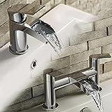 iBathUK | Luxury Waterfall Basin Sink Mixer Tap + Chrome Bath Filler Faucet Set TP3450