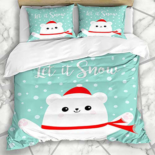 Ahawoso Duvet Cover Sets King 90x104 Cold Blue Adorable Let Snow Polar White Bear Fun Cub Wildlife Nature Red Arctic Baby Candycane Design Microfiber Bedding with 2 Pillow Shams ()