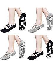 Non Slip Yoga Socks for Women Non Skid with Grips Socks for Yoga, Pilates, Barre, Home & Hospital 4 Pack
