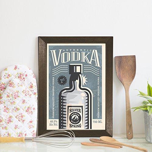 Quadro Decorativo Bebida Vintage Vodka 22x32 Moldura Marrom