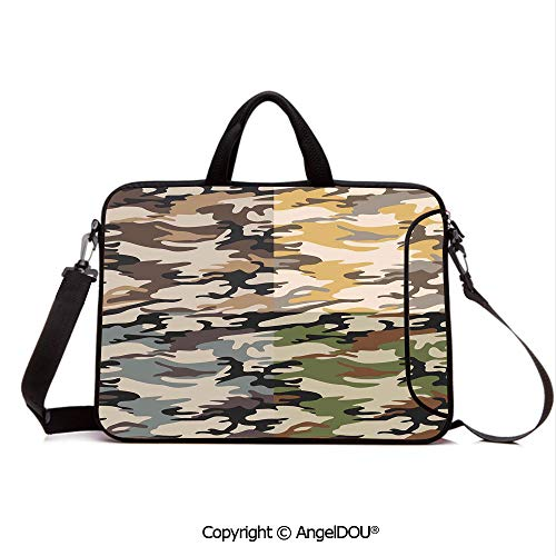 AngelDOU Laptop Sleeve Notebook Bag Case Messenger Shoulder Laptop Bag Camouflage Patterns in Four Going Undercover Militaristic Combi Compatible with MacBook HP Dell Lenovo Multico