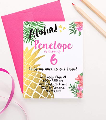 Luau Birthday Invitation, Pineapple Birthday Invitation, Hawaiin Birthday Invitation, Luau Birthday, Your choice of Quantity and Envelope Color