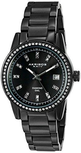 Akribos XXIV Women's Genuine Diamond Hour Markers on a Black Sunburst Dial and Crystal Accented Bezel on Black Stainless Steel Bracelet Watch AK928BK