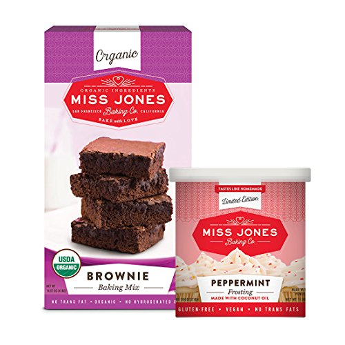 - Miss Jones Baking Organic Fudge Brownie Mix with Holiday Peppermint Frosting, Non-GMO, Vegan-Friendly: Rich Cocoa, Peppermint Crunch Pieces (Pack of 2)