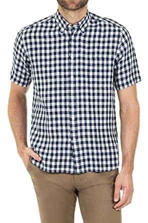 Blazer Men's Tristan Short Sleeve Linen Shirt, Navy-White, S