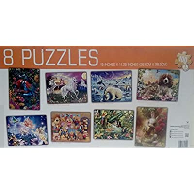 8 Puzzles-in-one, Eight 100 Piece Jigsaws in One Box: Toys & Games