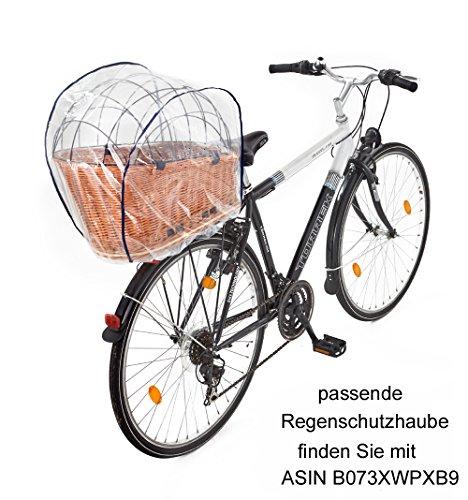 Tigana - Hundefahrradkorb für Gepäckträger aus Weide Natur 56 x 36 cm mit Metallgitter Tierkorb Hinterradkorb Hundekorb…
