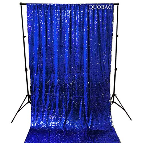 DUOBAO Sequin Curtains 2 Panels 96 Inches Silver Glitter Backdrop Curtain Royal Blue to Silver Reversible Sequin Backdrop for Photo Booth Mermaid Sequin Backdrop 4FTx8FT by DUOBAO (Image #2)