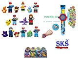 16 pcs Trainer with Pokemon Minifigures Building Toys with Pokemon Projection Watch and Pokemon Cards set by SKS Express