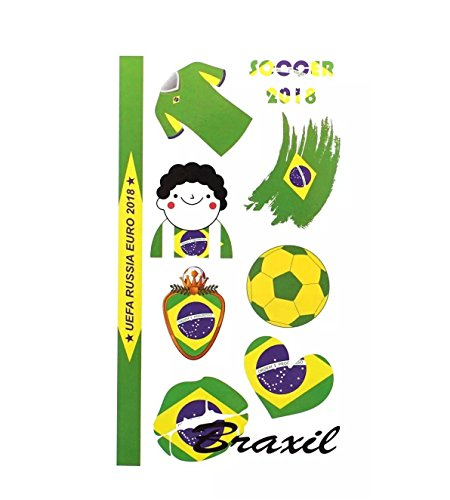 Astra Gourmet 5 Sheets of FIFA World Cup 2018 Russia Temporary Tattoos Body Face Stickers for Football Soccer Fans Watching Game (Brazil)