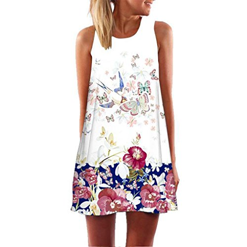 (Clearance ! Auwer Vintage Boho Beach Dress, Women Loose Summer Sleeveless 3D Floral Print Bohe Tank Mini Dress (S, White)