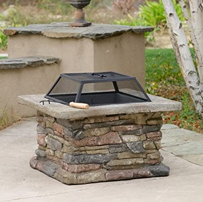 Patio Furniture-Premium® Natural Stone Square Fire Pit-Patio Fire Pit-Ideal Centerpiece For Keeping Family And Friends Warm And Entertained Outdoors -100% Thrilled Customer Guarantee!