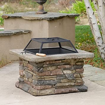 Patio Furniture Premium® Natural Stone Square Fire Pit Patio Fire Pit Ideal