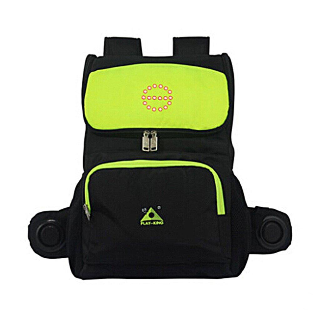 ak-bag自転車バックパック乗馬バッグwith LED警告ライト&音楽機能/多機能アウトドア防水ハイキングナップサック  グリーン B07DHP2JQL