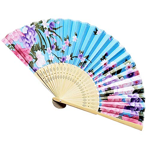 (TZNGYSP Vintage Bamboo Folding Hand Held Chinese Dance Party Pocket Gifts Wedding Flower Fan Fan)