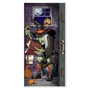 Decoración de puerta bruja en el baño Halloween - Única