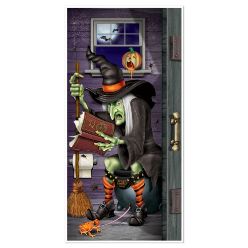 Witch Restroom Door Cover Party Accessory (1 count) (1/Pkg) (Halloween Decorations 1)
