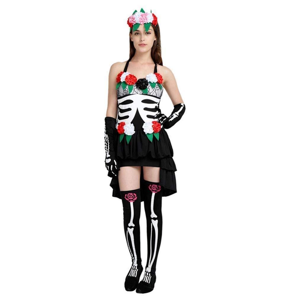 Fashion-Cos1 Das Tote Schwarze Skelett Ghost Bride Kostüm Halloween Party Scary Vampire Demon Cosplay Kostüm