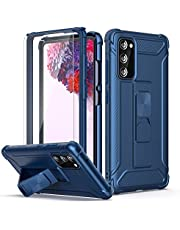 """ORETech Designed for Samsung Galaxy S20 FE Case with 2 Pack Screen Protector,Heavy Duty S20 FE Case Shockproof Hard PC Soft Rubber Edge Built-in Kickstand Protective Cover for Galaxy S20 FE 6.5"""" Blue"""