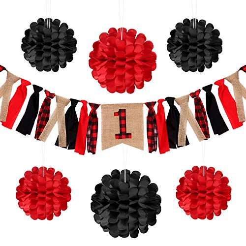 Jovitec Lumberjack Highchair Banner First Birthday Decorations Bunting with Tissue Paper Flowers for Christmas New Year Woodland Tree Cake Smash Fishing Buffalo Plaid First Birthday Party ()