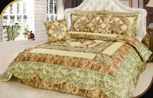 DaDa Bedding BM6118L1 New Beige Runway 5Piece Quilt Set Queen Patchwork Green
