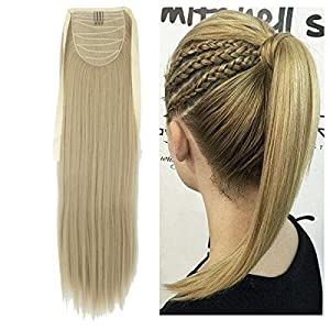 Haironline One Piece Tie Up Ponytail Clip in Hair Extensions Hairpiece Binding Pony Tail Extension for Girl Lady Woman
