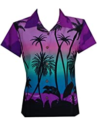 Womens Hawaiian Shirt Aloha Beach Top Blouse Casual Funny Summer Leaves