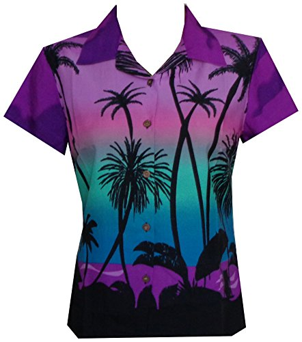 Alvish Hawaiian Shirt 42W Women Coconut Tree Print Aloha Top Blouse Purple S (Hawaiian Scenic Print Shirt)