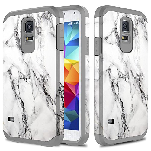 (Galaxy S5 Case, TownShop Marble Design Hard Impact Dual Layer Shockproof Bumper Case for Samsung Galaxy S5 (I9600))