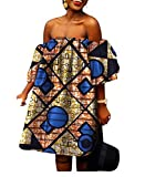 Abetteric Women's African Big Pendulum Batik Shoulder Off Puff Sleeve Club Gown 7 5XL