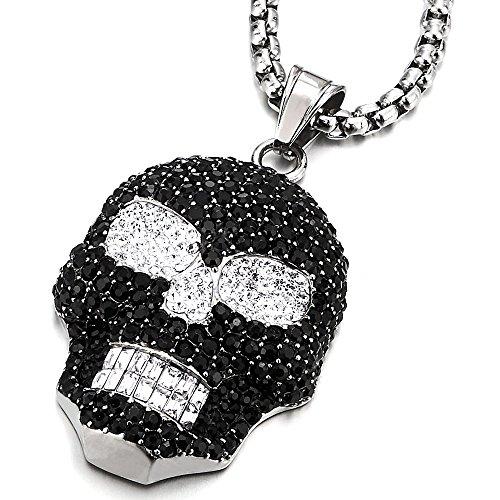 Cubic Skull Pendant - COOLSTEELANDBEYOND Large Solid Stainless Steel Sugar Skull Pendant Necklace Black White Cubic Zirconia, for Men Women