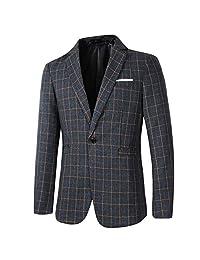 Beninos Mens Casual One Button Slim Fit Plaid Blazer Jacket