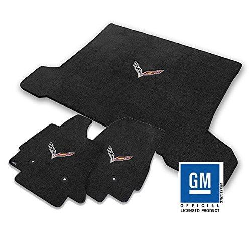 2014+ Corvette C7 Coupe Front Floor & Rear Trunk 3pc Jet Black Mat Set w/Crossed Racing Flags Logo