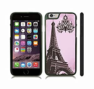Case Cover For Apple Iphone 6 Plus 5.5 Inch with Eiffel Tower Photostamp with Chandelier Silhouette on Pink Background Snap-on Cover, Hard Carrying Case (Black)