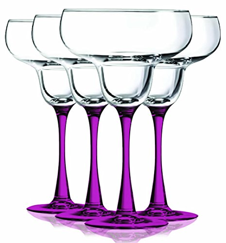 (Pink Margarita Glasses with Beautiful Colored Stem Accent - 14.5 oz. set of 4- Additional Vibrant Colors Available by TableTop)