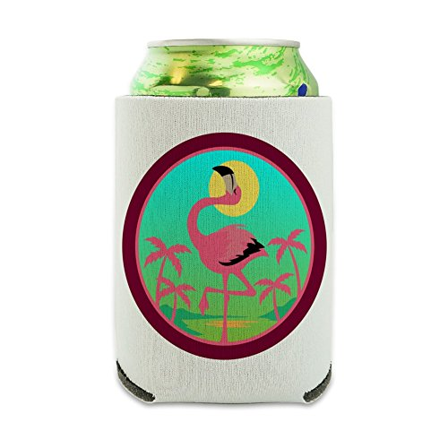 (Flamingo Palm Trees Tropical Vacation Can Cooler - Drink Sleeve Hugger Collapsible Insulator - Beverage Insulated)