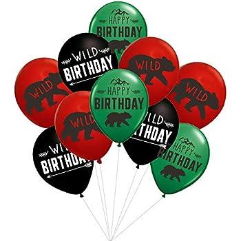 lumberjack birthday party balloons 36pcs woodlandlumberjackwild one birthday party suplies decorations