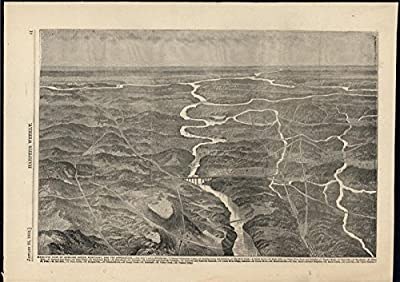 Birds Eye View Bowling Green Kentucky Approach 1862 antique wood engraved print