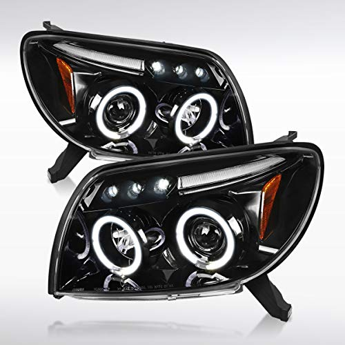 Autozensation For Toyota 4Runner Slick Black LED Dual Halo Projector Headlights Pair 2005 Toyota 4runner Headlight