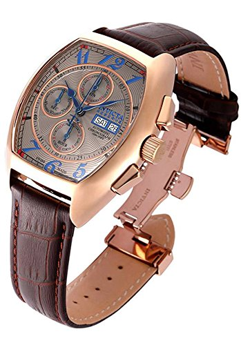 Automatic Chronograph Rose - Invicta Men's 'Reserve' Swiss Automatic Gold and Leather Casual Watch, Color:Brown (Model: 18922)
